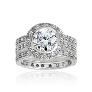 Icz Stonez Sterling Silver Cubic Zirconia 3 1/5ct TGW Bridal Ring Set