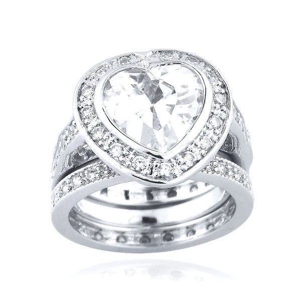 Icz Stonez Sterling Silver Cubic Zirconia 7 1/4ct TGW Bridal Ring Set