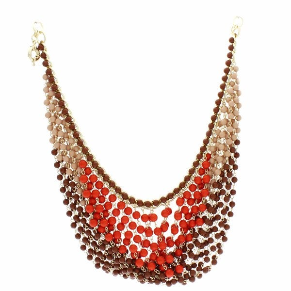 NEXTE Jewelry Brass Multi-row Brown and Orange Bead Bib Necklace