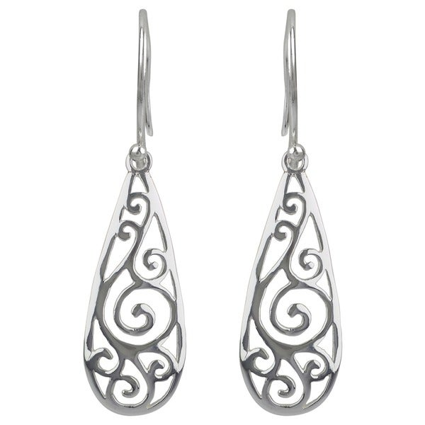 Sterling Silver Filigree Teardrop Dangle Earrings