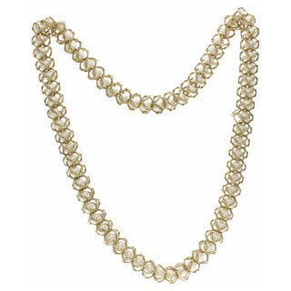 NEXTE Jewelry Goldtone White Faux Pearl Mesh Chain Necklace