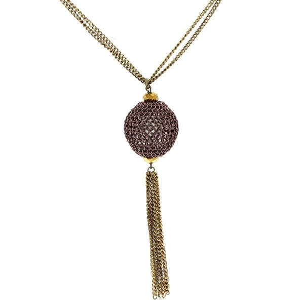 NEXTE Jewelry Antique Goldtone Purple Orb Chain Necklace