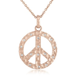 Collette Z Cubic Zirconia Peace Sign Round Pendant