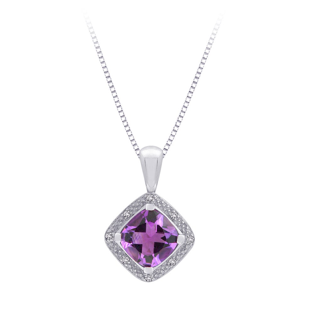 Sterling Silver 0.05ct TDW Diamond and Amethyst Necklace (G-H, I2-I3)