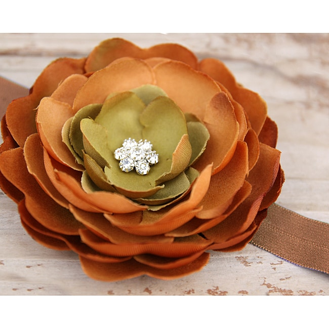 Boutique Brown and Green Flower Headband