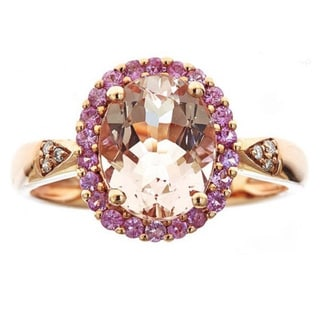 Anika And August 10k Rose Gold Morganite Pink Sapphire And Diamond Ring