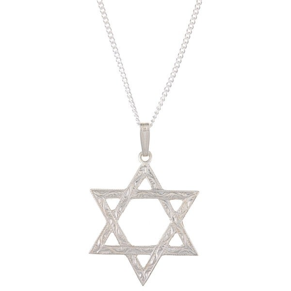 Sterling Silver Men's 'Star of David' Necklace