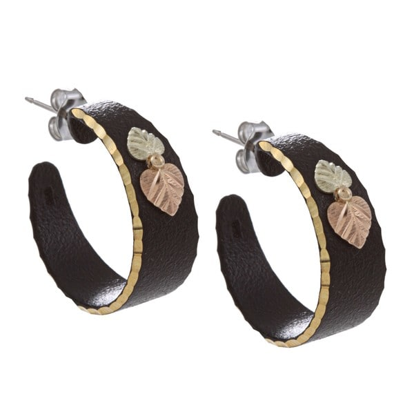 Black Hills Gold Black Powdercoated Semi-hoop Earrings