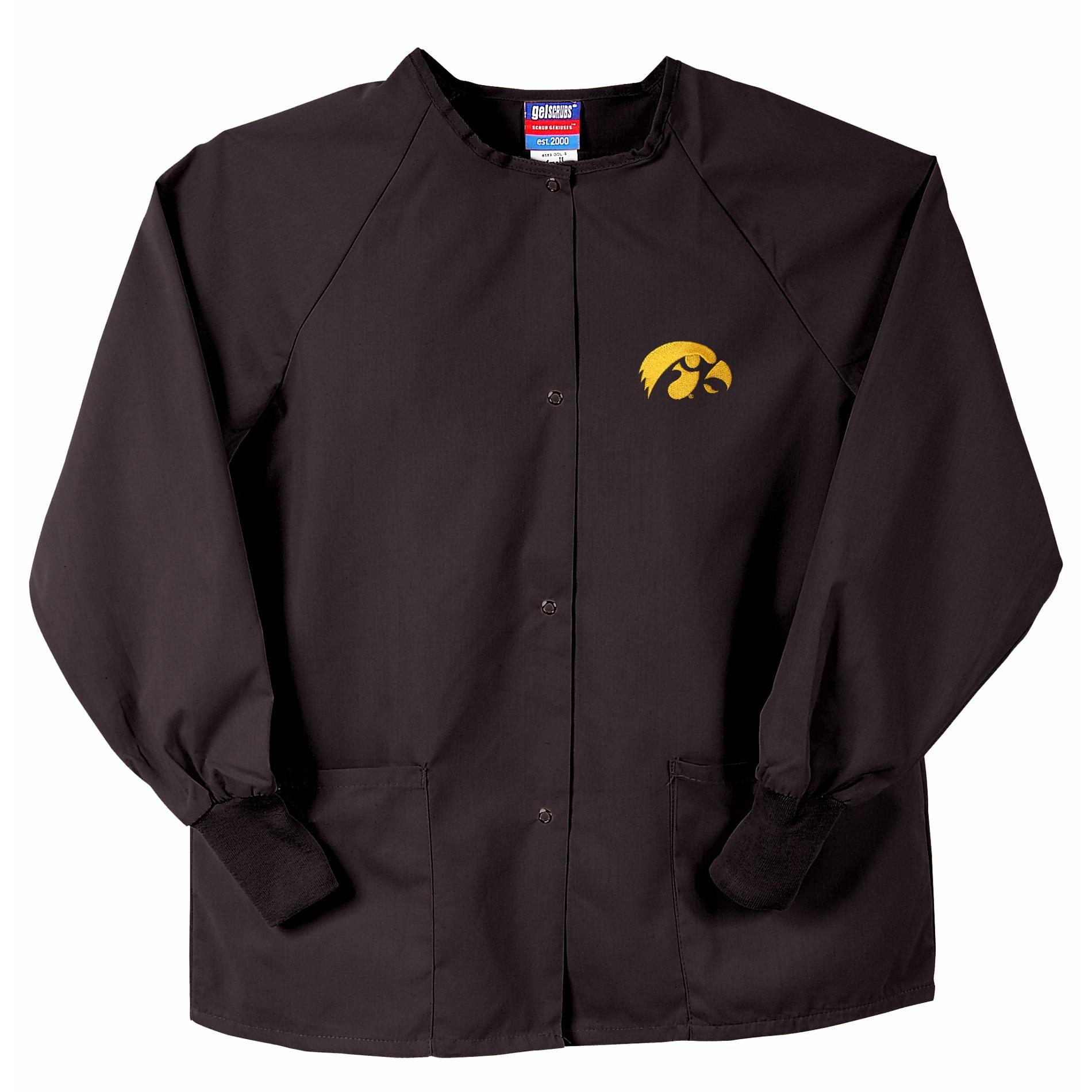 Gelscrubs Unisex NCAA Black Iowa Hawkeyes Nurse Jacket