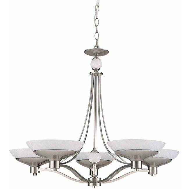 Triarch International Halogen VI 5-light Brushed Steel Chandelier