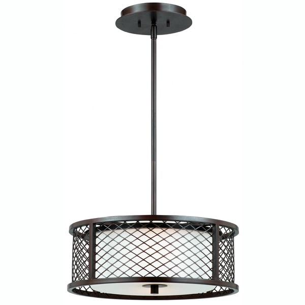 Triarch International Chainlink 3 Light Bronze Pendant Chandelier