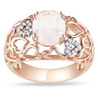 Miadora Pink Silver Rose Quartz and Diamond Fashion Ring (2 1/4 CT TGW)