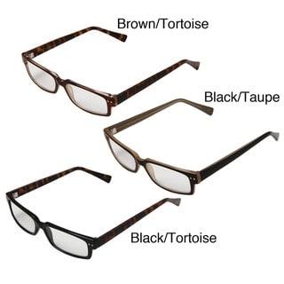Hot Optix Men's Square Plastic Full Frame Reading Glasses