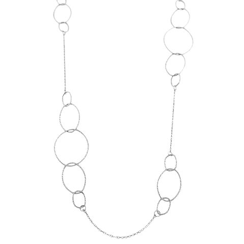 Fremada Rhodiumplated Sterling Silver Graduated Oval Links Necklace