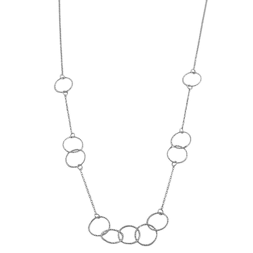 Fremada Rhodiumplated Sterling Silver Diamond-cut Circles Necklace