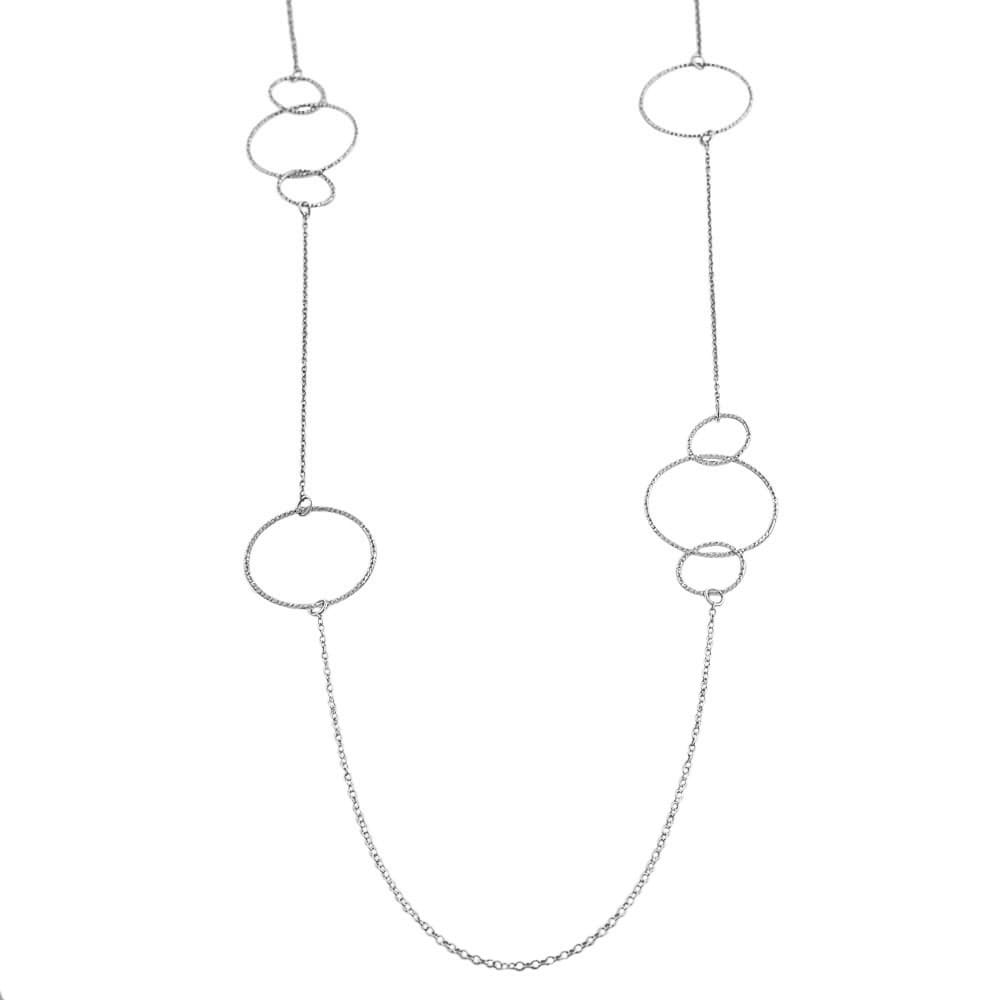 Fremada Rhodium-plated Sterling Silver Diamond-cut Circles Station Necklace