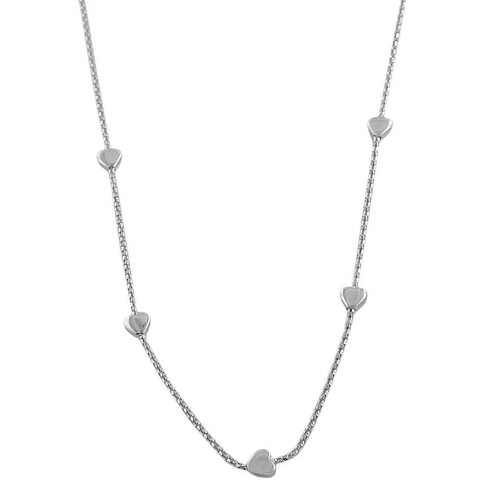 Fremada Sterling Silver Hearts Station Necklace