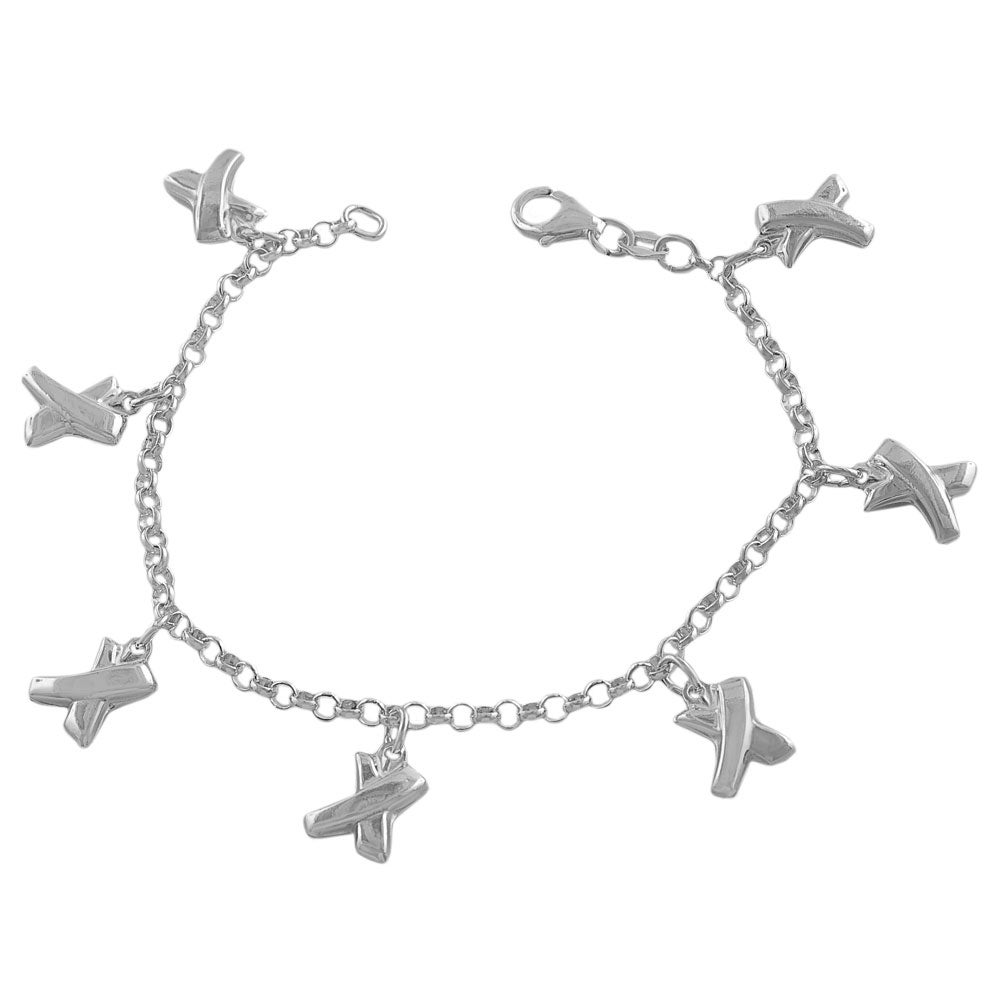 Fremada Sterling Silver Hugs Charm Bracelet