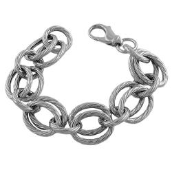 Fremada Rhodium-plated Sterling Silver Twisted Multi-link Bracelet