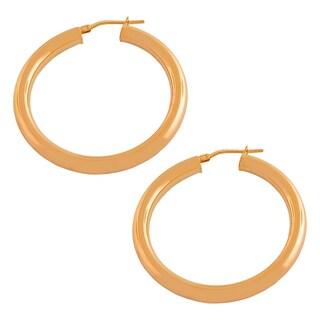 Fremada Gold over Silver 4x30-mm Tube Hoop Earrings