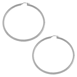 Fremada Rhodium-plated Sterling Silver 60mm Tube Hoop Earrings