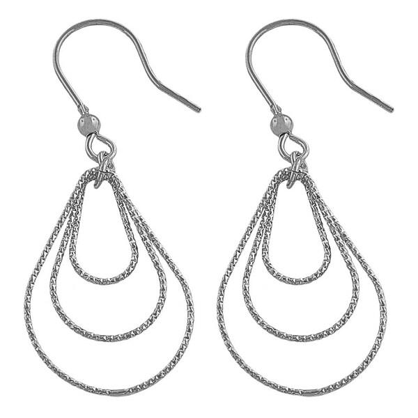 Fremada Rhodium Plated Silver Diamond-cut Graduated Teardrops Dangle Earrings