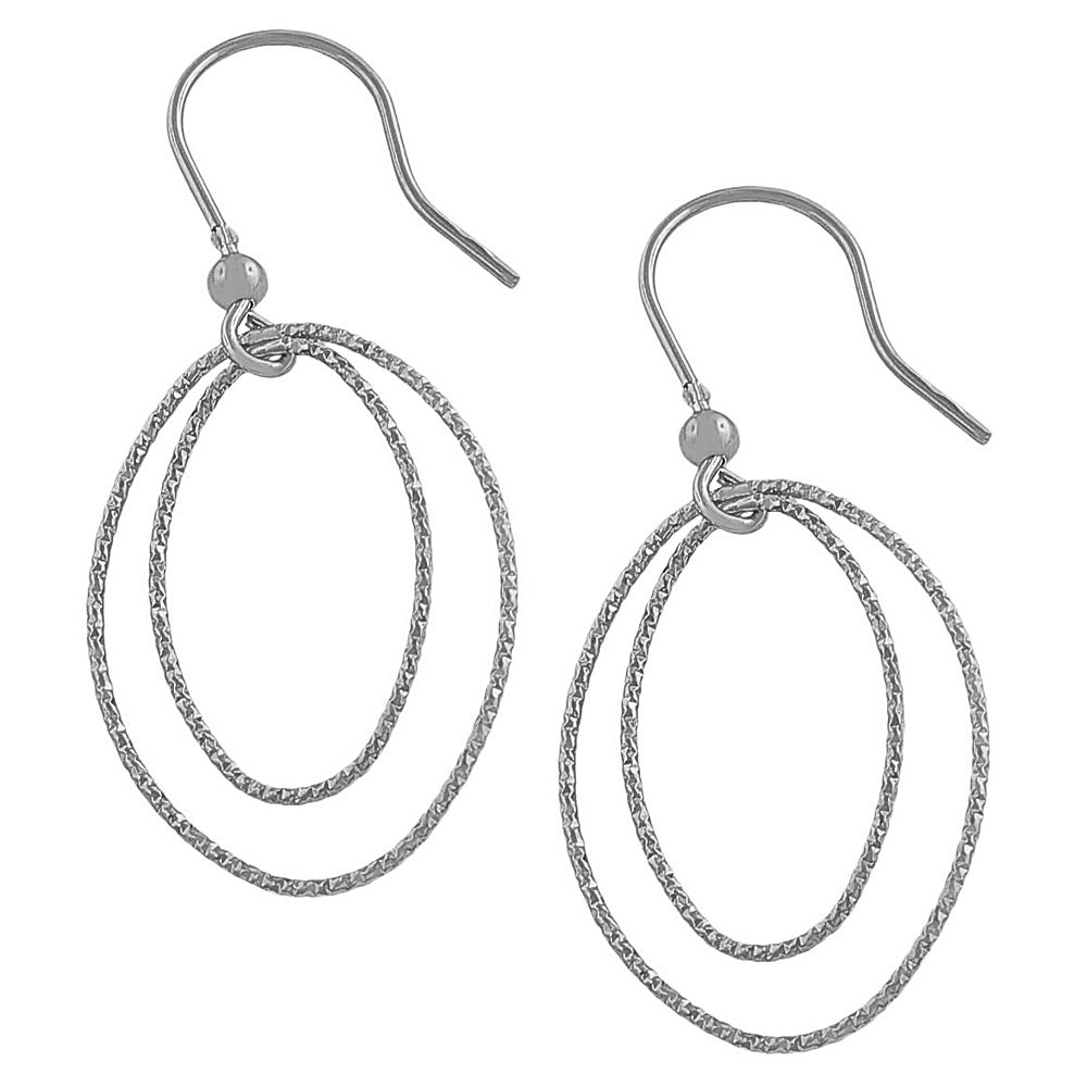 Fremada Rhodiumplated Silver Diamond-cut Oval Dangle Earrings