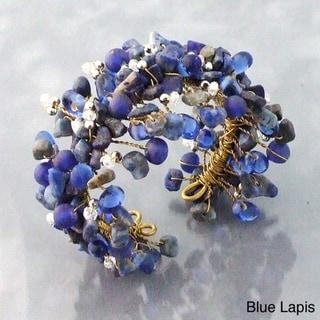 Handmade Wide Web Works Goldtone Turquoise Weave Brass Cuff Bracelet (Thailand)