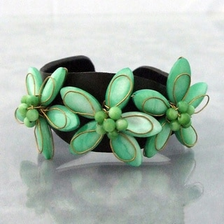 Handmade Leather Mother of Pearl Triple Floral Cuff (Thailand)