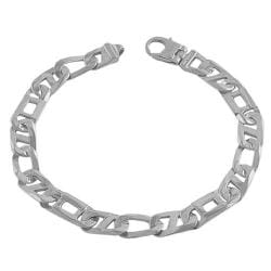 Fremada Rhodium-plated Sterling Silver Men's Fancy Mariner Link Bracelet (8.5-inch)