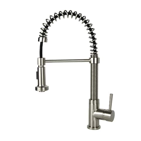 Residential Brushed Nickel Finish Brass Coil Spring Faucet