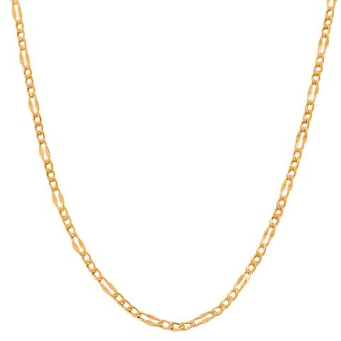 High-polish 14-carat Rose-gold 24-inch Fancy Figaro Link Chain