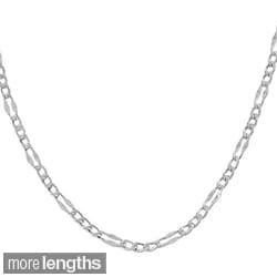Fremada 14k White Gold Fancy Figaro Link Chain (16 - 24 inch)