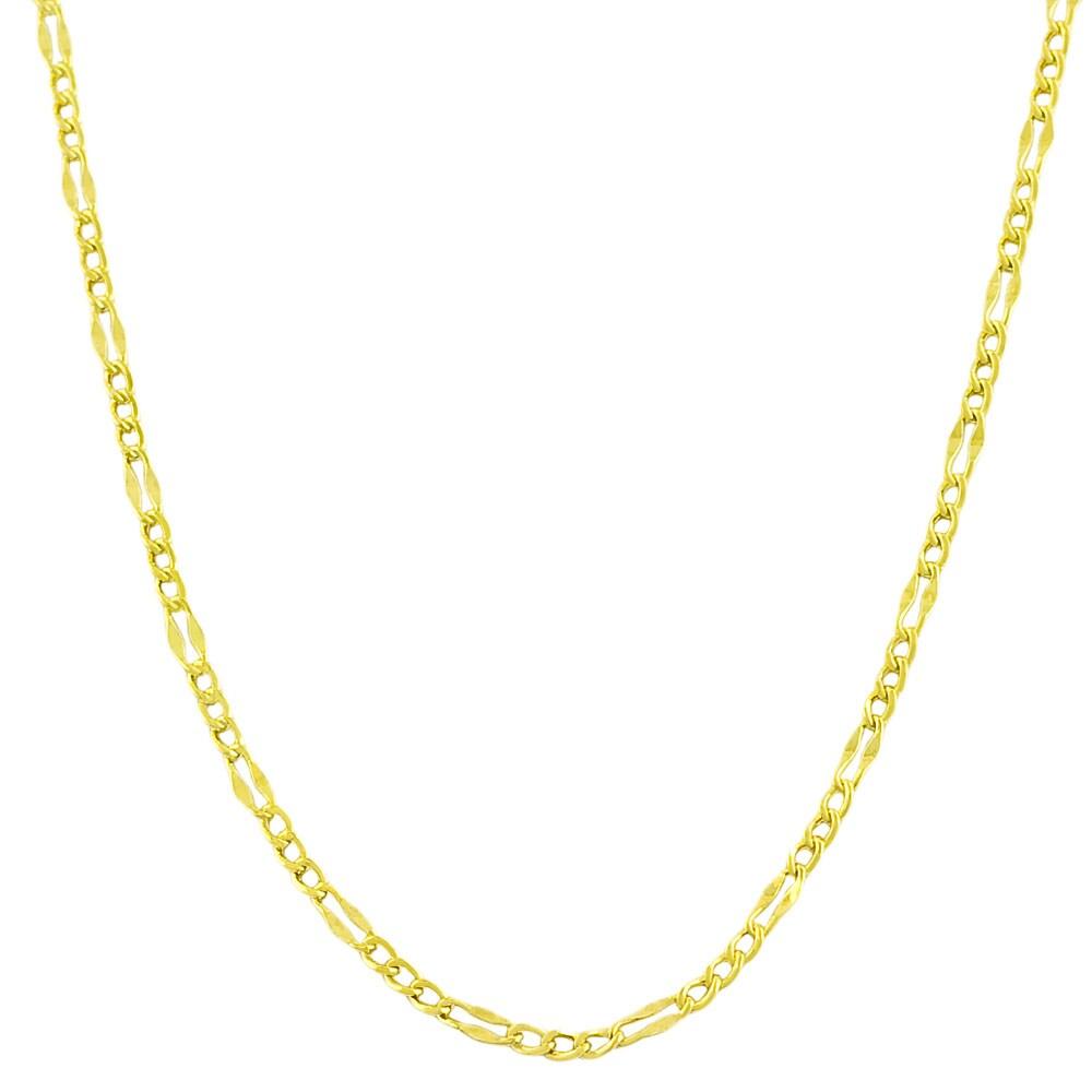 14k Yellow Gold 24-inch Fancy Figaro Link Chain