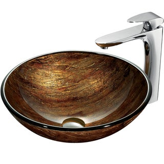 VIGO Amber Sunset Glass Vessel and Faucet Set in Chrome