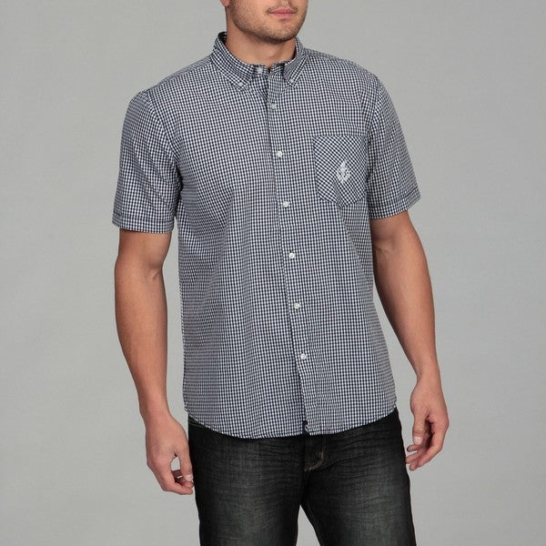 Generra Men's Blue/ White Checkered Woven Shirt