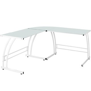 Double Bit White Workstation Desk
