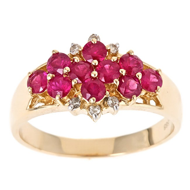 Anika and August 14k Yellow Gold Thai Ruby and 1 1/4ct TDW Diamond Ring (G-H, I1-I2)