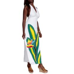 1 World Sarongs Women's White Birds of Paradise Floral Halter-Top Dress (Indonesia)