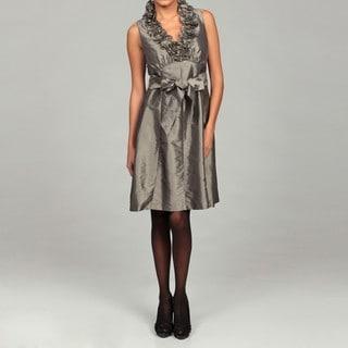 London Times Women's Ruffle Neck Taffeta Dress