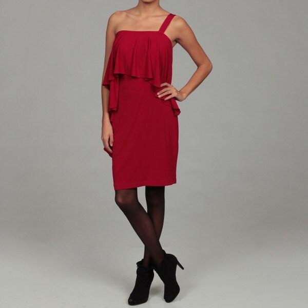 London Times Women's Red Ruffled Matte Jersey Dress