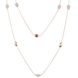 West Coast Jewelry Rose Goldtone Oval Strand and Crystal Necklace