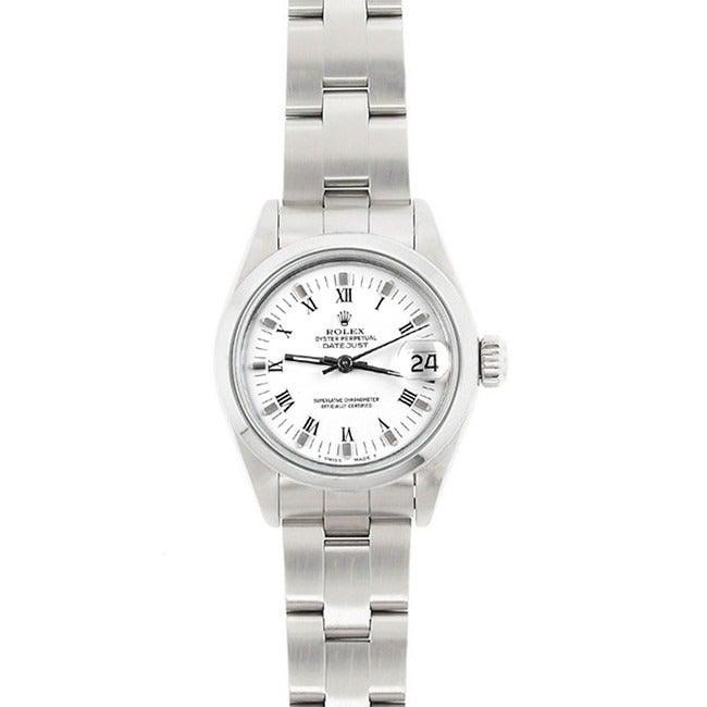 Pre Owned Rolex Women S Model 69160 Datejust 26mm Stainless Steel White Roman Dial Watch