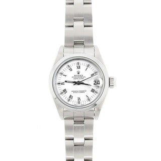 Pre-owned Rolex Women's Model 69160 Datejust 26mm Stainless Steel White Roman Dial Watch