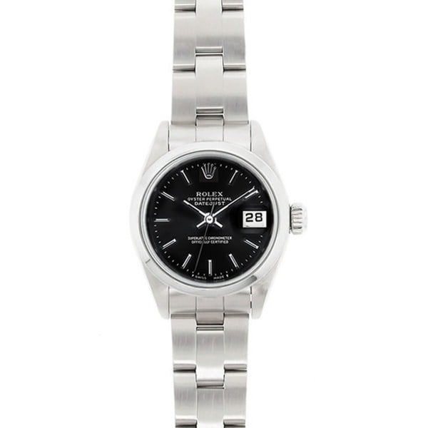 Pre-owned Rolex Women's Model 69160 Datejust 26mm Stainless Steel Black Dial Watch
