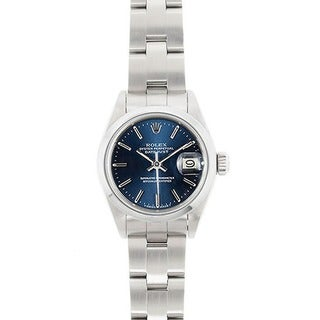 Pre-owned Rolex Women's Model 69160 Datejust 26mm Stainless Steel Blue Dial Watch