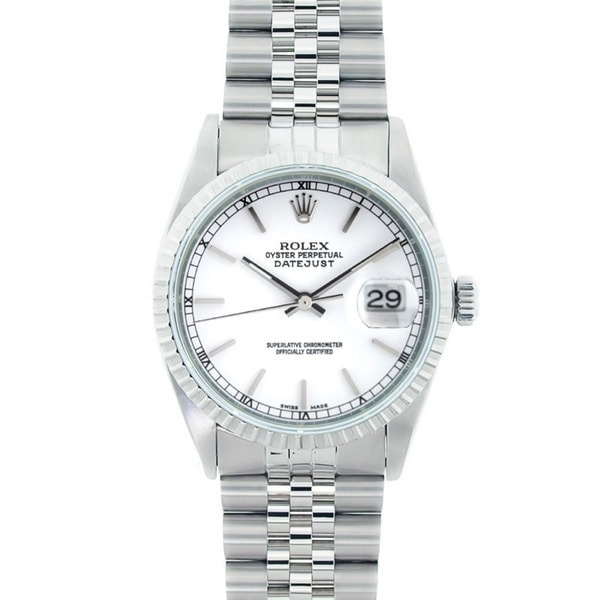 Pre-Owned Rolex Men's Datejust Stainless Steel White Dial Watch Model 16220