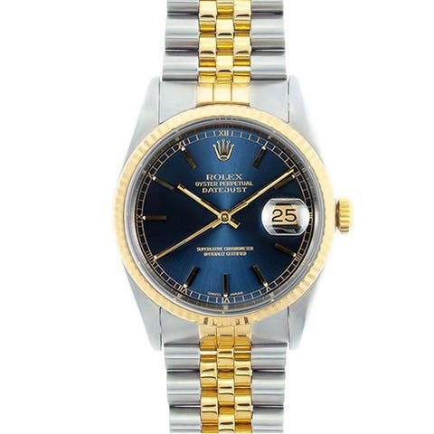 Pre-owned Rolex Men's Datejust Two-tone Blue Dial Watch