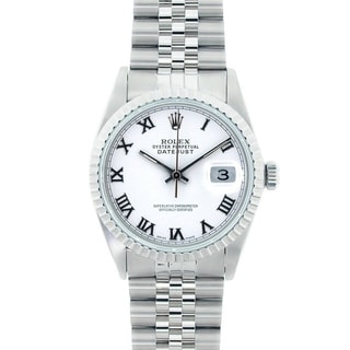 Pre-Owned Rolex Men's 16220 Datejust Stainless Steel White Roman Dial Watch