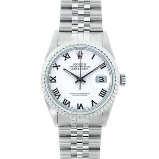 Pre-Owned Rolex Men's 16220 Datejust Stainless Steel White Roman Dial Watch|https://ak1.ostkcdn.com/images/products/6383286/P13997194.jpg?impolicy=medium